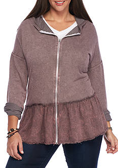 Living Doll Plus Size Zip-up Hoodie