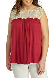 Living Doll Plus Size Solid Crochet Woven Top