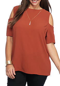 Living Doll Plus Size Cold Shoulder Blouse