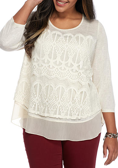 Living Doll Plus Size Lace Overlay Knit Top Belk