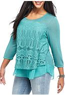 Living Doll Plus Size Lace Overlay Knit Top