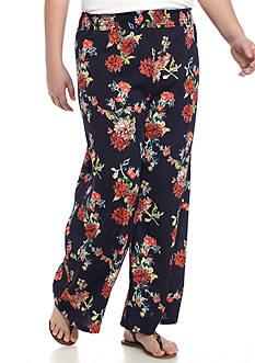 Living Doll Plus Size Smock Waist Floral Soft Pants