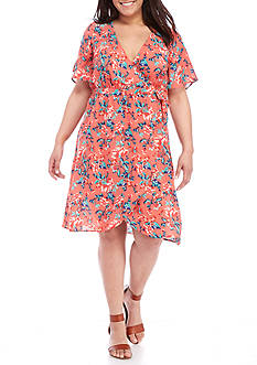 Living Doll Plus Size Printed Wrap Dress