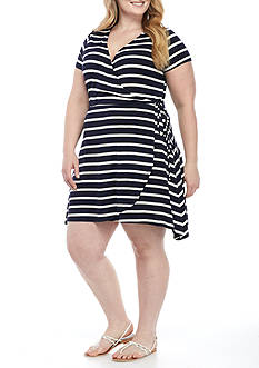 Living Doll Stripe Faux Wrap Dress