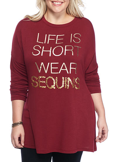 Living Doll Plus Size Knit Graphic Sweeper Sweatshirt