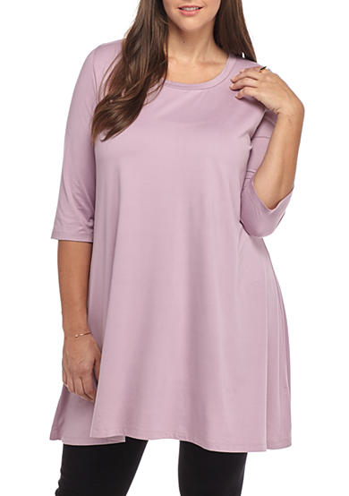 Living Doll Plus Size Solid Swing Tunic Belk