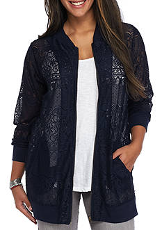 Living Doll Plus Size Lace Bomber Jacket