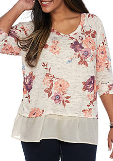 Living Doll Plus Size Floral Chiffon Hem 2Fer Top