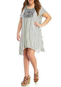 Living Doll Plus Size Stripe Shark-Bite Dress