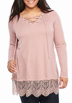 Living Doll Plus Size Lace Up Hem Sweatshirt