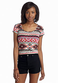 Living Doll Aztec Biadere Crop Top