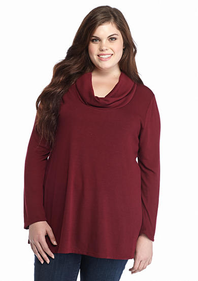 Living Doll Plus Size Solid Cowl Neck Swing Tunic