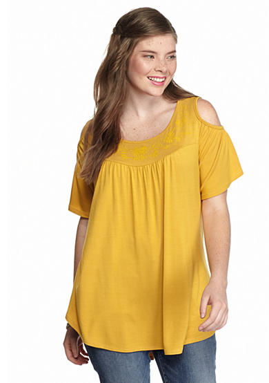 Living Doll Plus Size Cold Shoulder Swing Top