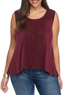 Living Doll Plus Size Lace Yolk Knit Tank