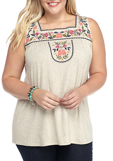 Living Doll Plus Size Embroidery Bib Squank Tank Shirts Belk