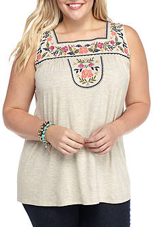 Living Doll Plus Size Embroidery Bib Squank Tank Shirts