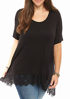 Living Doll Plus Size Lace Hem Knit Tee