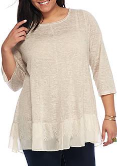 Living Doll Plus Size Lace Hem Knit Tee