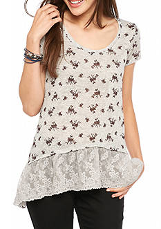 Living Doll Short Sleeve Knit Floral Lace Hem 2Fer