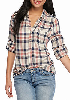 Living Doll Roll Tab Plaid Printed Shirt