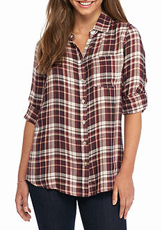 Living Doll Roll Tab Plaid Shirt