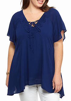 Living Doll Plus Size Lace Up Shark-bite Woven Top