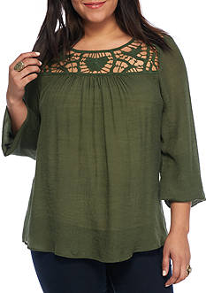 Living Doll Plus Size Crochet Open Yolk Top