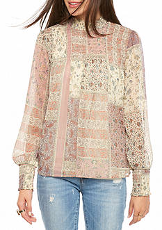 Living Doll Long Sleeve Printed Mock Neck Top