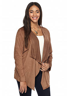 Living Doll Plus Size Faux Micro Suede Cozy Jacket