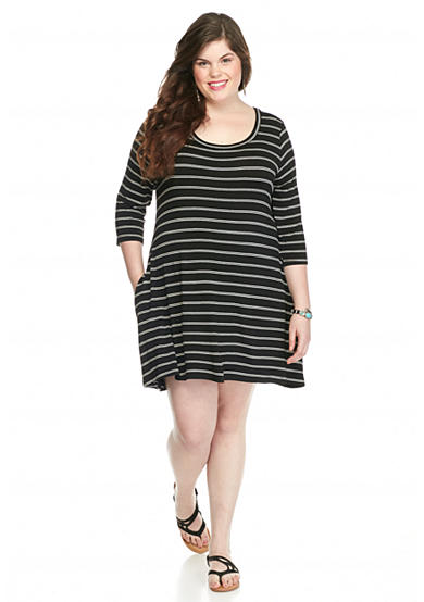 living doll plus size striped swing dress