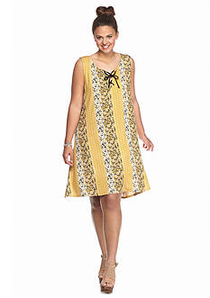 Living Doll Plus Size Lace-Up Printed Dress