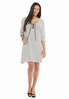 Living Doll Plus Size Stripe Lace-Up Dress
