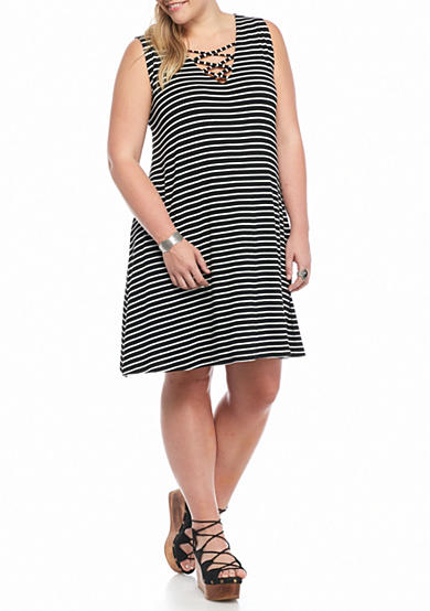 Living Doll Plus Size Striped Lace Up Dress