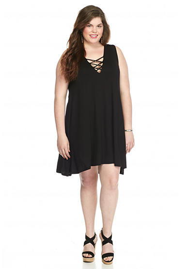 Living Doll Plus Size Lace Up Tank Dress