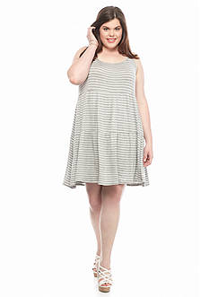 Living Doll Plus Size Tiered Stripe Tank Dress