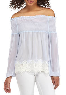 Living Doll Off The Shoulder Lace Hem Top