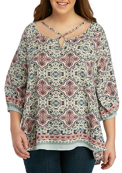 Living Doll Plus Size Medallion Cross Front Woven Top Belk
