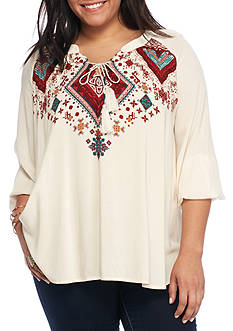 Living Doll Plus Size Long Sleeve Embroidered Lace Tunic