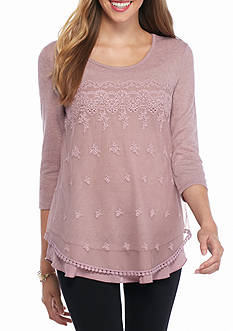 Living Doll Lace Overlay Knit Top