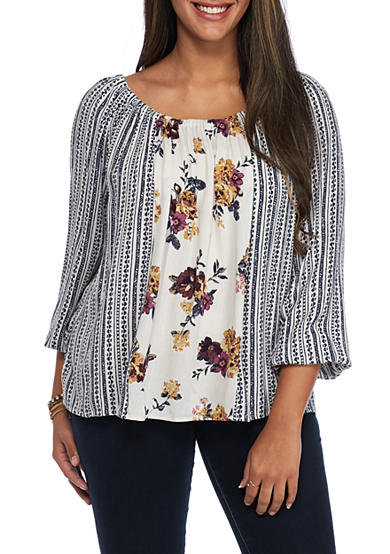 Living Doll Plus Size Off The Shoulder Twin Print Blouse