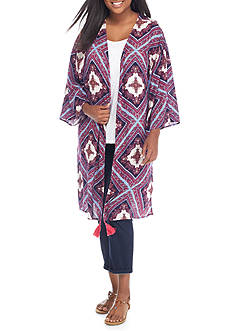 Living Doll Plus Size Patchwork Cozy Kimono With Tassels