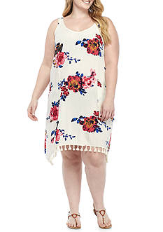 Living Doll Plus Floral Tank Dress with Tassels
