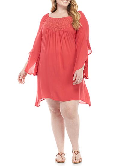 Living Doll Plus Size Ruffle Sleeve Dress With Crochet