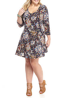 Living Doll Plus Size Rib Knit Printed Dress