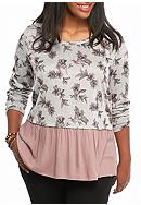 Living Doll Plus Size Floral Woven Hem Top