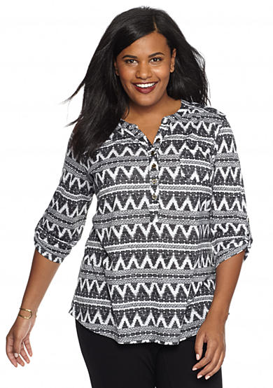 Kim Rogers® Plus Size Printed Smock Roll Tab Top