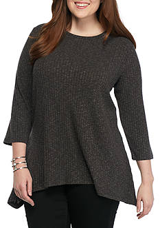 Kim Rogers® Plus Size Heathered Knit Pullover