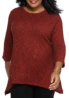 Kim Rogers Plus Size Heathered Knit Pullover