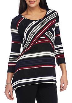 Kim Rogers Petite Size Spliced Sharkbite Stripe Knit Top