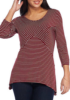 Kim Rogers® Petite Size Spliced Sharkbite Stripe Knit Top